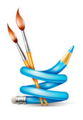 Creative art concept with twisted pencil and brushes for drawing — ストックベクタ