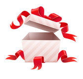 Open box with ribbon for holiday gift — Stock Vector