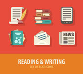 Literature reading and writing set of flat icons — Stock Vector