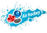 Mallets and puck for air hockey game — Stock Vector