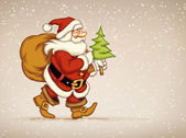 Santa claus walking with sack of gifts and firtree in his hand — Vetorial Stock