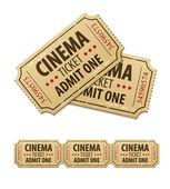 Old cinema tickets for cinema — Stock Vector