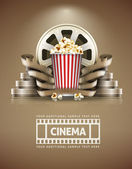 Cinema concept with popcorn and cinefilms retro style — Stock Vector