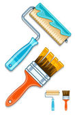 Maintenance tools brushes and rollers for paint works — Stok Vektör