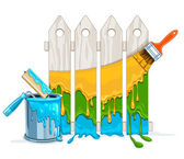 White fence painting maintenance by colour paint by brush roller with full bucket — Stock Vector