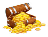 Pirates trunk chest full of gold coins treasures — Stock Vector