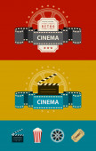Retro cinematography banners with icons flat design — Stock Vector