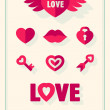 Valentines day love icons set with hearts retro vintage style — Stock Vector #64098783