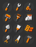 Working tools for construction and repair flat icons set — Stock Vector