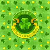 Shamrock symbol for saint patricks day with ribbon — Stock Vector