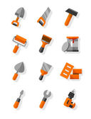 Working tools for construction and maintenance flat icons set — Stock Vector