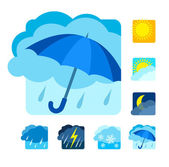 Weather icons set flat — Stock Vector