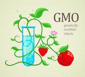 GMO genetically modifiedplants growing in test-tube — Stock Vector