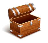 Old empty vintage wooden trunk — Stock Vector