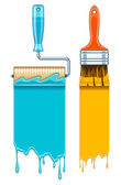 Sale banners with maintenance tools brushes and rollers for paint works Banner discount advertising sale — Stock Vector