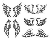 Set of wings tattoo — Stock Vector