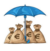 Umbrella protecting sacks with money currency dollar — Stock Vector