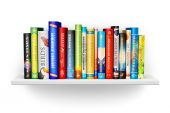 Bookshelf with color hardcover books — Stock Photo