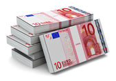 Stacks of 10 Euro banknotes — 图库照片