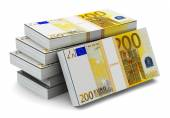 Stacks of 200 Euro banknotes — Stock Photo