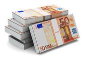 Stacks of 50 Euro banknotes — Photo