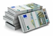 Stacks of 5 Euro banknotes — Stock Photo