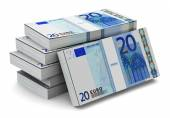 Stacks of 20 Euro banknotes — Stock Photo