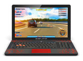 Gamer laptop with video game — Stock Photo