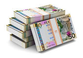 Stacks of 50 Swedish krones — Stock Photo