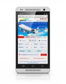 Buying air tickets via smartphone — Stock Photo