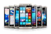 Collection of modern touchscreen smartphones — Stock Photo