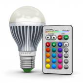 Multicolor LED lamp with wireless remote control — Stock Photo