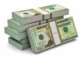 Stacks of 20 dollars banknotes — 图库照片