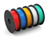 Spools with color electric power cables — Photo