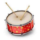 Red trommel met drumsticks — Stockfoto