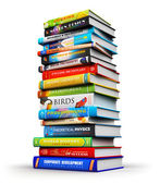 Big stack of color hardcover books — Stock Photo