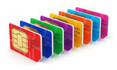 Group of color SIM cards — Stock Photo