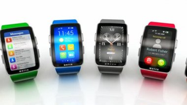 Collection of smart watches — Stock Video