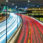 Winter highway traffic in Stockholm, Sweden — Stock Photo #59744809