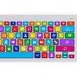 Computer keyboard with color social media keys — Stock Photo #60195203