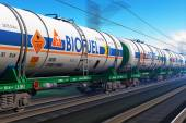 Freight train with biofuel tankcars — Foto de Stock