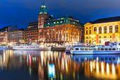 Night scenery of Stockholm, Sweden — Stock Photo