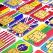 International SIM cards with flags — Stock Photo #64444565