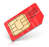 Red SIM card — Stock Photo