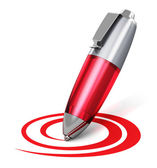 Red pen drawing circular shape — Stock Photo