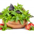 Basil leaves with cherry tomatoes — Stock Photo #52286095