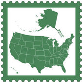 USA map on stamp — Stock Vector