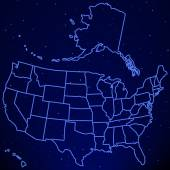 USA map on starry sky — Stock Vector