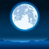Blue full moon — Stock Vector