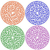 Round maze set — Stock Vector